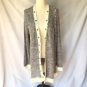 BKE Black Cream Reverse Cardigan with Grommets XL